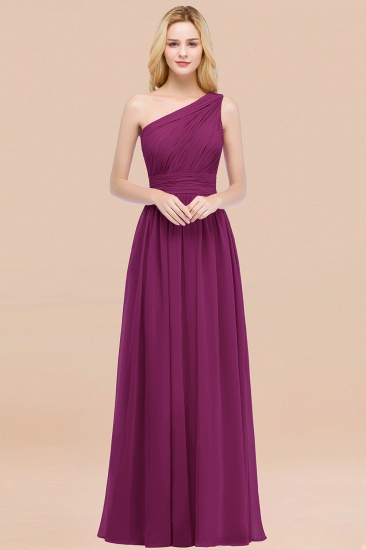 Chic One-shoulder Sleeveless Burgundy Chiffon Bridesmaid Dresses Online_42