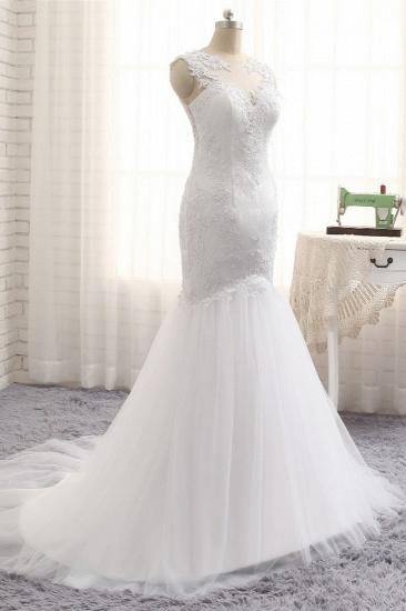 BMbridal Glamorous Jewel Sleeveless Tulle Wedding Dresses White Mermaid Satin Bridal Gowns With Appliques On Sale_4