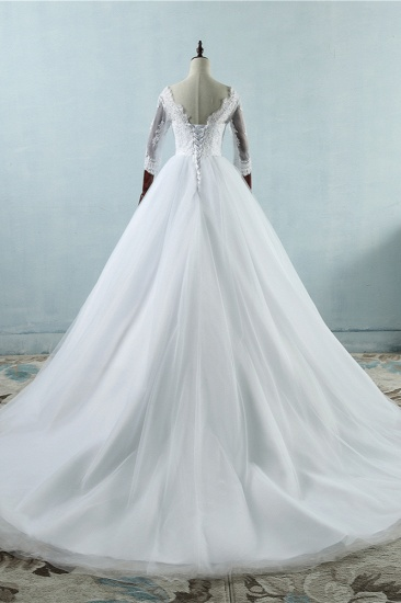 Elegant Jewel Tulle Lace Wedding Dress 3/4 Sleeves Appliques A-Line Bridal Gowns On Sale_3