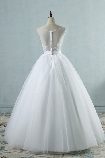 BMbridal Chic Square Neckling Sleeveless Wedding Dresses White Tulle Lace Bridal Gowns On Sale_3