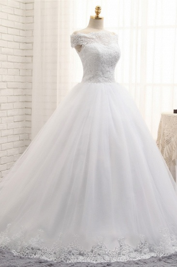 Modest Bateau Tulle Ruffles Wedding Dresses With Appliques A-line White Lace Bridal Gowns On Sale_4