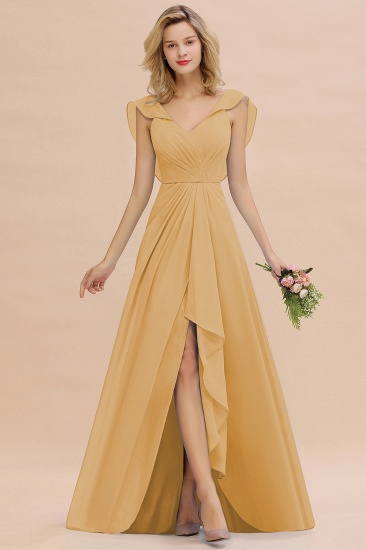 Modest Hi-Lo V-Neck Ruffle Long Bridesmaid Dress with Slit_13