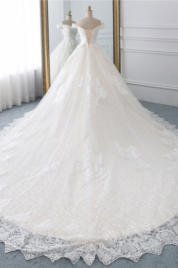 Luxury Ball Gown Off-the-Shoulder Lace Wedding Dress Sweetheart Sleeveless Appliques Bridal Gowns On Sale_3
