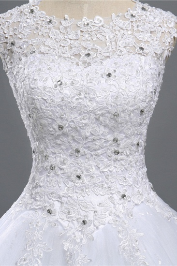 Chic Jewel Tulle Sequined Wedding Dress Sleeveless Appliques Beadings Bridal Gowns On Sale_6