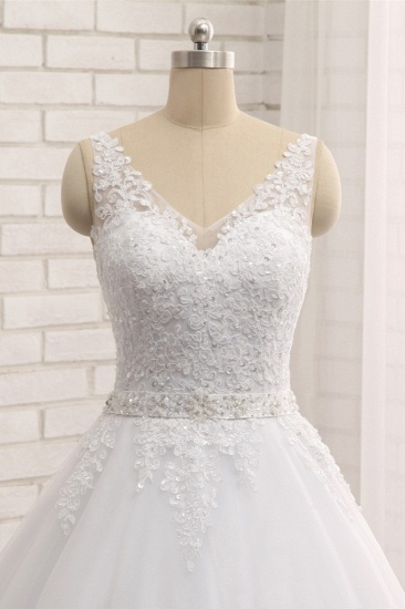 BMbridal Gorgeous V neck Straps Sleeveless Wedding Dresses White A line Lace Bridal Gowns With Appliques Online_5
