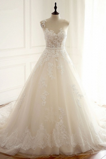 Stylish Jewel A-Line Tulle Ivory Wedding Dress Appliques Sleeveless Bridal Gowns with Beading Sash Online_1