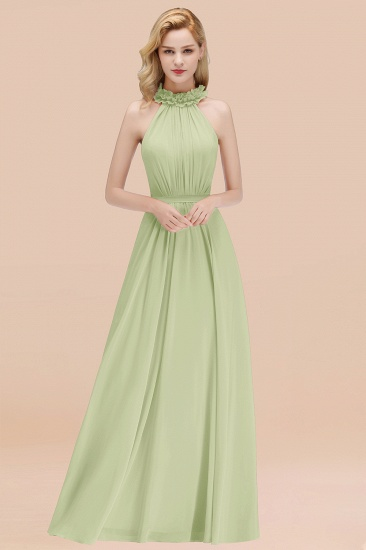 Modest High-Neck Halter Ruffle Chiffon Bridesmaid Dresses Affordable_35