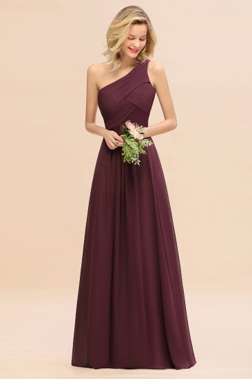 Chic One Shoulder Ruffle Grape Chiffon Bridesmaid Dresses Online_47