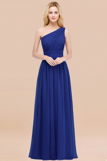 Chic One-shoulder Sleeveless Burgundy Chiffon Bridesmaid Dresses Online_26