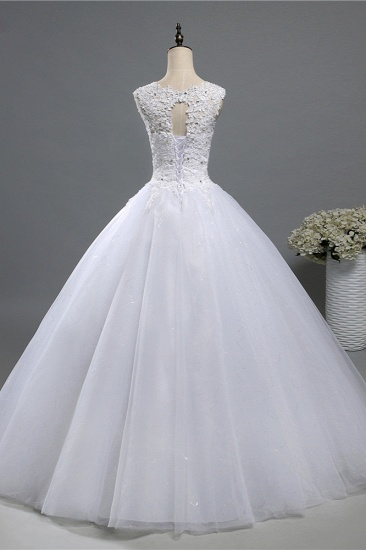 Chic Jewel Tulle Sequined Wedding Dress Sleeveless Appliques Beadings Bridal Gowns On Sale_3