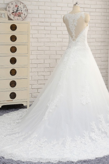 BMbridal Chic White A-line Tulle Wedding Dresses Jewel Sleeveless Ruffle Bridal Gowns With Appliques On Sale_3