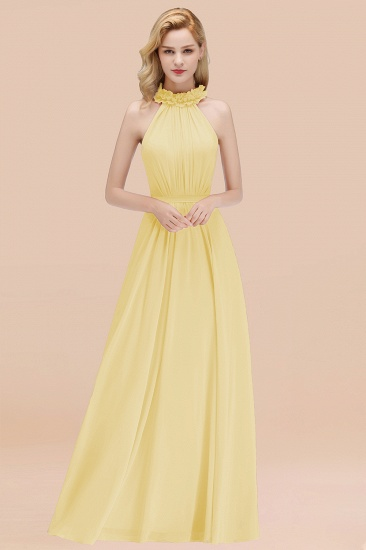 Modest High-Neck Halter Ruffle Chiffon Bridesmaid Dresses Affordable_18