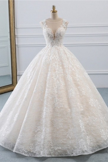 Exquisite Jewel Sleelveless Lace Wedding Dress Ball Gown appliques Bridal Gowns Online_1
