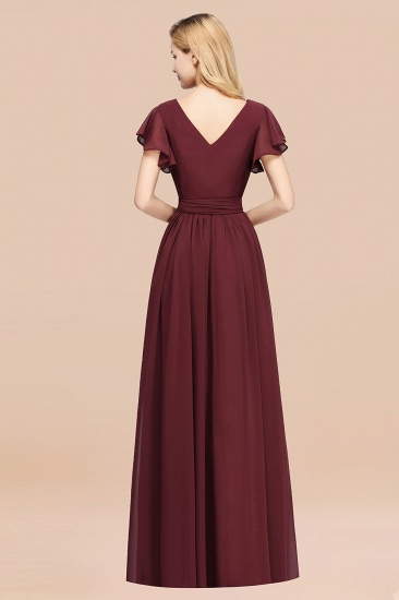 BMbridal Burgundy V-Neck Long Bridesmaid Dress With Short-Sleeves_52