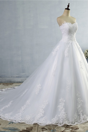Stylish Strapless Sweetheart A-Line Wedding Dress Sleeveless Appliques Bridal Gowns Online_4