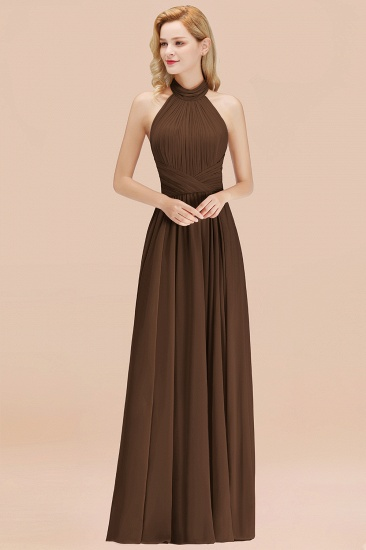 Gorgeous High-Neck Halter Backless Bridesmaid Dress Dusty Rose Chiffon Maid of Honor Dress_12