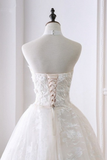 BMbridal Elegant A-Line Halter Tulle White Wedding Dress Sleeveless Appliques Bridal Gowns On Sale_6