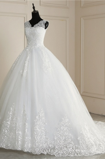 BMbridal Elegant V-Neck Tull Lace White Wedding Dress Sleeveless Appliques Bridal Gowns On Sale_5