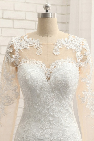 BMbridal Elegant Jewel Mermaid Lace Wedding Dress Long Sleeves White Appliques Bridal Gowns On Sale_5