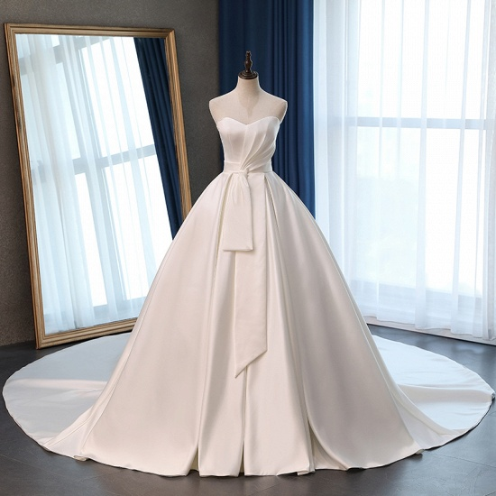Elegant Sweetheart White Satin Wedding Dress A-line Ruffles Bridal Gowns On Sale_7