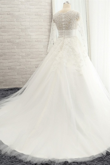 BMbridal Chic Longsleeves Jewel A line Wedding Dresses White A line Tulle Bridal Gowns With Appliques Online_3