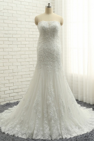 BMbridal Elegant Bateau White Mermaid Wedding Dresses With Appliques Ruffles Lace Bridal Gowns On Sale_1