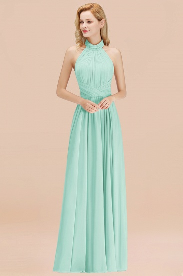Gorgeous High-Neck Halter Backless Bridesmaid Dress Dusty Rose Chiffon Maid of Honor Dress_36