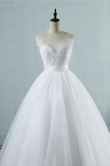 BMbridal Chic Square Neckling Sleeveless Wedding Dresses White Tulle Lace Bridal Gowns On Sale_6