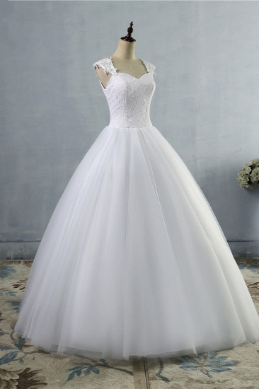 Affordable Sweetheart Tulle Lace Wedding Dresses Cap-Sleeves Appliques Bridal Gowns Online_4