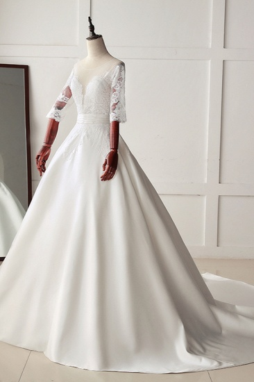 Stunning Jewel Satin Tulle White Wedding Dress Half Sleeves Appliques Bridal Gowns Online_5