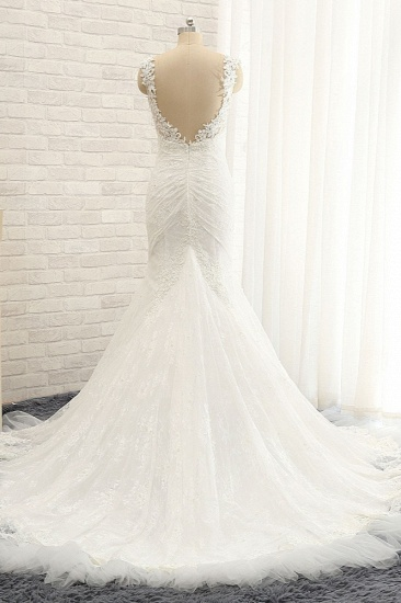 BMbridal Sexy Spaghetti Straps Sleeveless Wedding Dresses With Appliques White Mermaid Lace Bridal Gowns Online_3