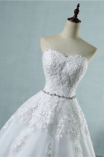 BMbridal Sexy Strapless Sweetheart Tulle Wedding Dress Sleeveless Appliques Bridal Gowns with Beadings Sash_6
