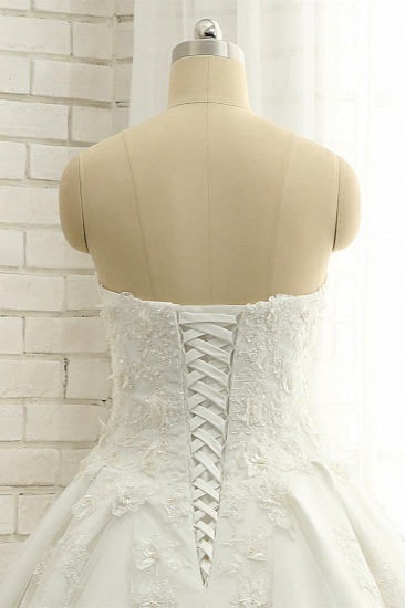 BMbridal Glamorous Sweetheart A-line Tulle Wedding Dresses With Appliques White Ruffles Lace Bridal Gowns  Online_6