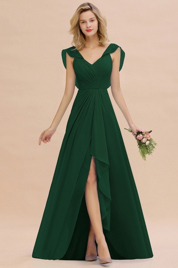 Modest Hi-Lo V-Neck Ruffle Long Bridesmaid Dress with Slit_31