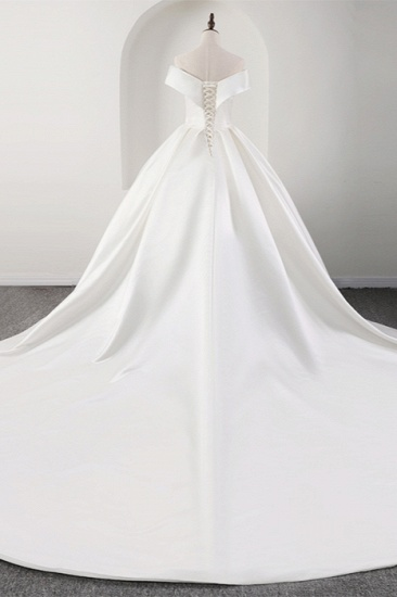 BMbridal Glamorous White Satin Ruffles Wedding Dresses Off-the-shoulder A-line Bridal Gowns Online_3