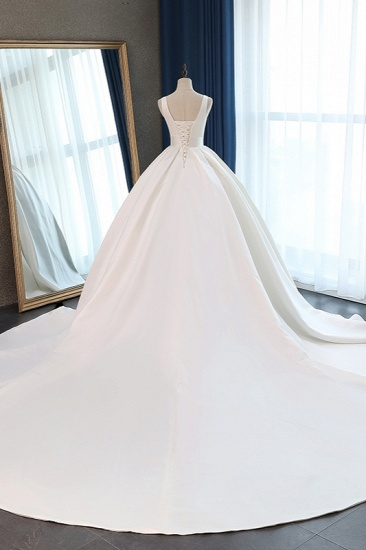 BMbridal Sexy Deep-V-Neck Straps Satin Wedding Dress Ball Gown Ruffles Sleeveless Bridal Gowns Online_3
