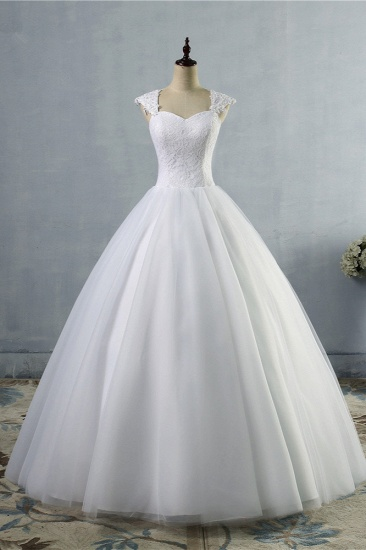 Affordable Sweetheart Tulle Lace Wedding Dresses Cap-Sleeves Appliques Bridal Gowns Online_1