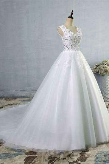Stunning V-Neck Sequins Tulle Wedding Dresses A-Line Lace Appliques Bridal Gowns Online_4