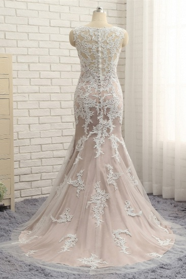 BMbridal Affordable Straps V-Neck Tulle Appliques Wedding Dress Sleeveless Lace Bridal Gowns On Sale_3