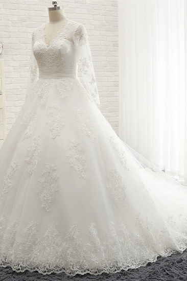 Affordable V neck Longsleeves Tulle Wedding Dresses A line Lace Bridal Gowns With Appliques On Sale_4