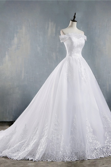 Gorgeous Off-the-Shoulder White Tulle Wedding Dress Lace Appliques Bridal Gowns On Sale_5