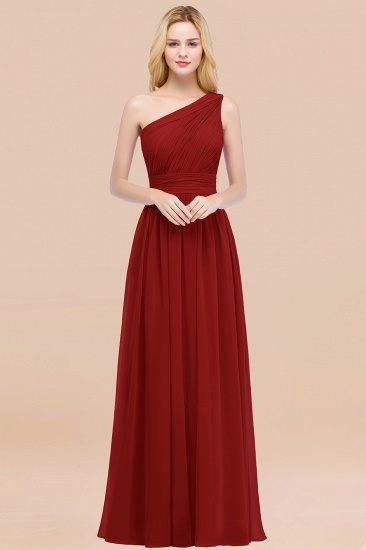 Chic One-shoulder Sleeveless Burgundy Chiffon Bridesmaid Dresses Online_48