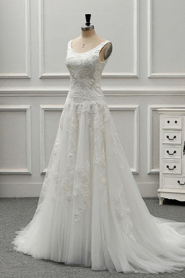 BMbridal Chic Straps Jewel Tulle Lace Wedding Dress Sleeveless Appliques White Bridal Gowns On Sale_4