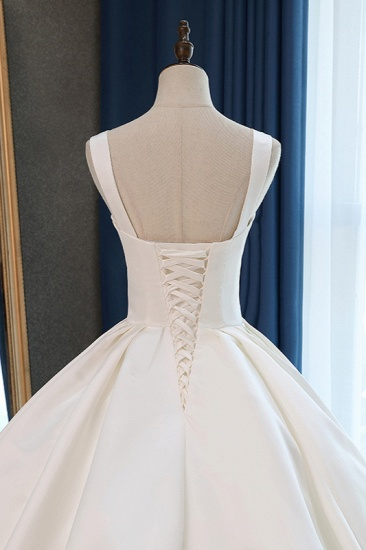 Elegant Ball Gown Straps Square-Neck Wedding Dress Ruffles Sleeveless Bridal Gowns Online_7