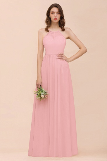 BMbridal Gorgeous Chiffon Halter Ruffle Affordable Long Bridesmaid Dress_4