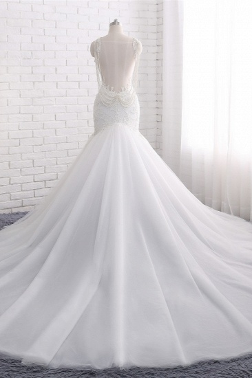 BMbridal Gorgeous Spaghetti Straps V-Neck Mermaid Wedding Dress White Lace Appliques Sleeveless Bridal Gowns Online_3