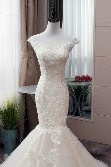 Glamorous Jewel Tulle Mermaid Iovry Wedding Dress Lace Appliques Sleeveless Bridal Gowns On Sale_6