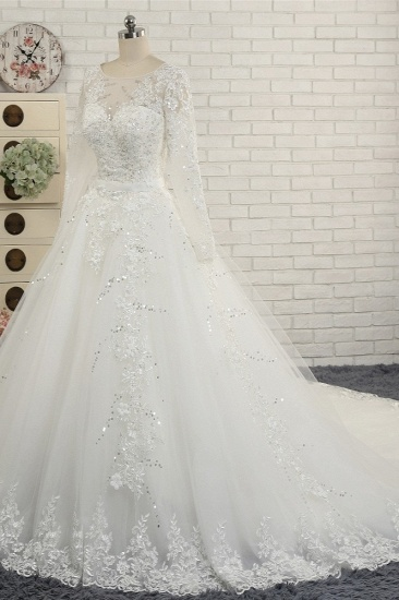 Modest Jewel Longsleeves White Wedding Dresses A-line Tulle Ruffles Bridal Gowns On Sale_4