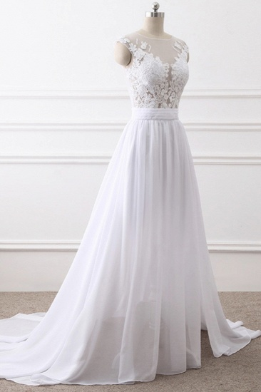 Elegant Jewel Chiffon Lace White Wedding Dress A-Line Sleeveless Appliques Bridal Gowns with Slit On Sale_4