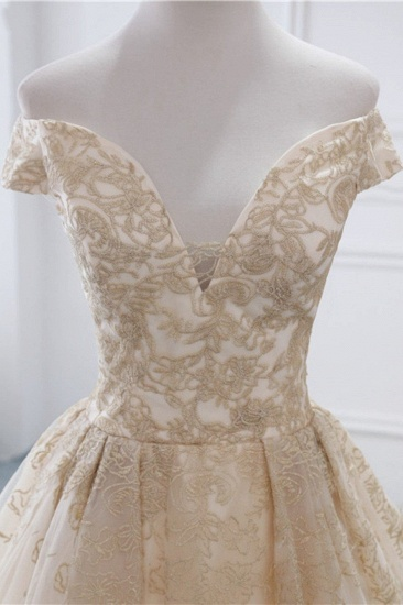 Gorgeous V-Neck Sleeveless Tulle Wedding Dress Champagne Appliques Bridal Gowns Online_6